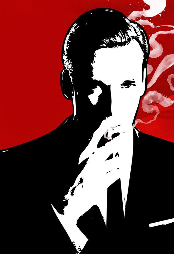 Don Draper Pop Art. I wish I had a set of the Mad Men cast of pop art like this and could have a classy 1960's themed bar to display them in. So cool.