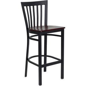 Flash Furniture Hercules Series Black School House Back Metal Restaurant Bar Stool with Mahogany Wood Seat XU-DG6R8BSCH-BAR-MAHW-GG