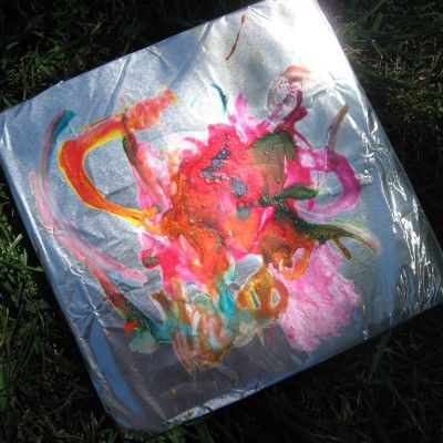 Shiny Painting    Tinfoil around cardboard, and tempera paint cut 50/50 with white glue: Paintings Art, Tinfoil Paintings, Tempera Paintings, Paintings Mixed, Kids Crafts, Art With Aluminum Foil Kids, Kids Art, Shiny Paintings, Tins Foil