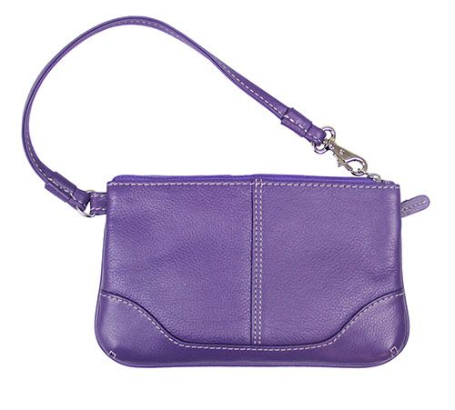 Leather Purple Clutch Wrist Bag