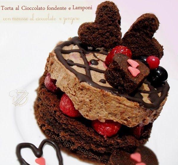 Torta al Cioccolato Fondente e Lamponi con Mousse al Cioccolato e Zenzero©L.Oggivicucinocosi
