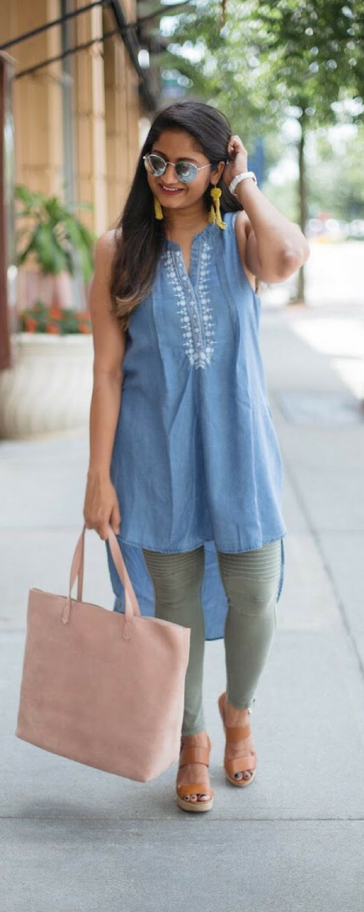 Chambray and Moto Jegging | dreamingloud.com ------- chambray tunic, olive moto jogging, summer style, chic summer outfits
