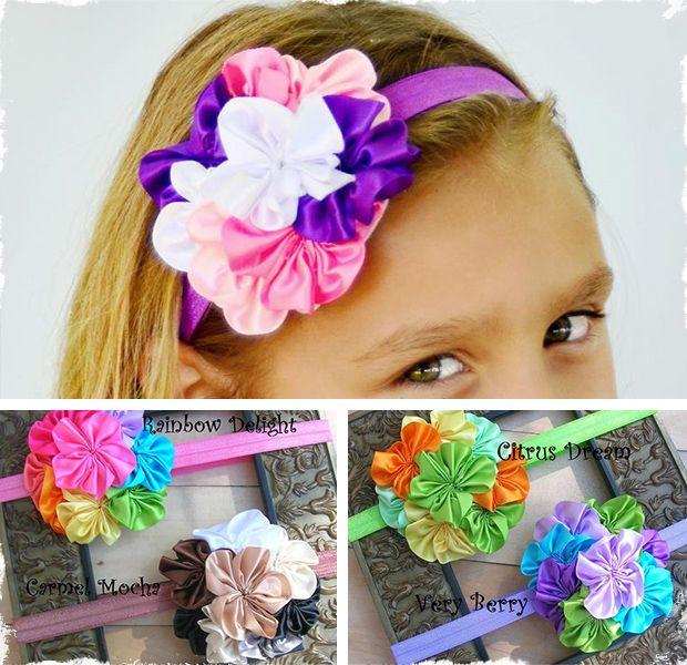 $5.50 Satin Blossom Headbands at VeryJane.com