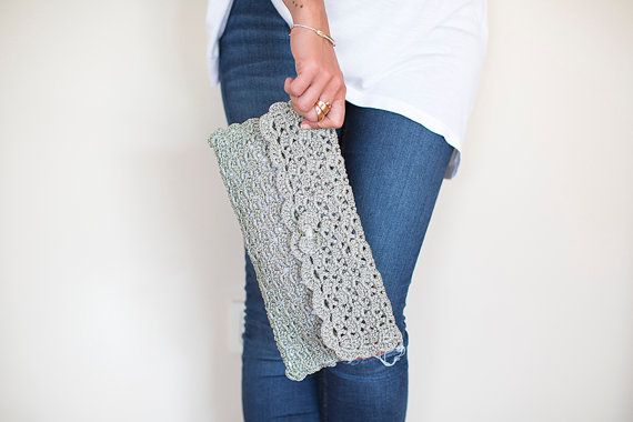 Crochet Clutch Crochet Handbag Crochet Bag by NeedleandLine