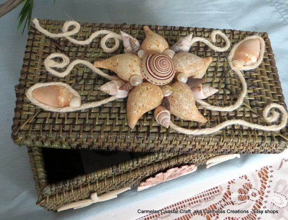 A nice gift for the beach bride ....Sea shell decor basket by #CarmelasCoastalCraft on Etsy,