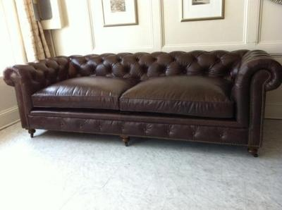 Restoration Hardware Tufted Leather Sofa New 98 Inch