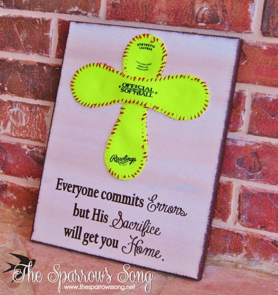 """{UPDATED} 12"""" x 16"""" Softball Cross + Canvas Sign}{Painting    Home Decor on Etsy, $30.00"""