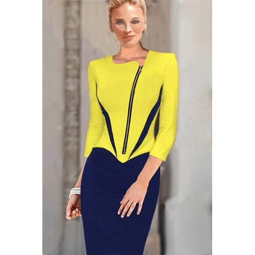 OL Style Round Neck Sleeve Spliced Slimming Pencil Dress For Women