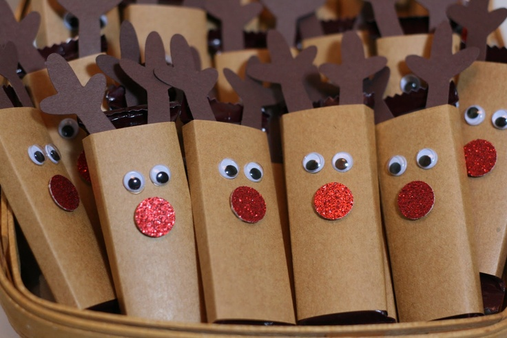 Tiny Reindeer - mini chocolate bars decorated