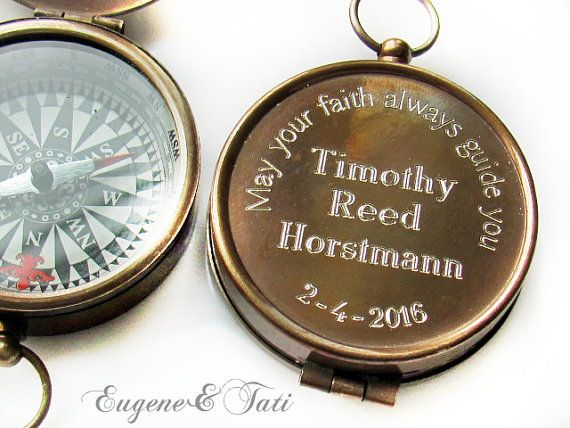 Baptism Gift, Engraved Compass, Baptism Gift Boy, Confirmation Gift Boy, Gift for Godfather, Engraved Working Compass, Godparents Gifts