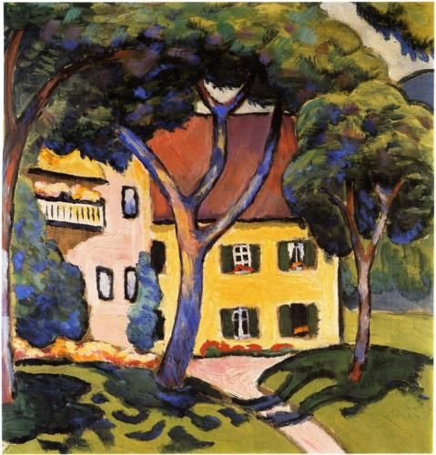 August Macke (German, 1887-1914). House in a Landscape.