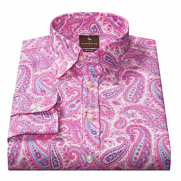 Tailorbyrd Linen Sport Shirt Paisley Long Sleeve For