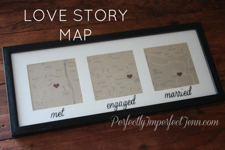 map with where you met, got engaged and got married!