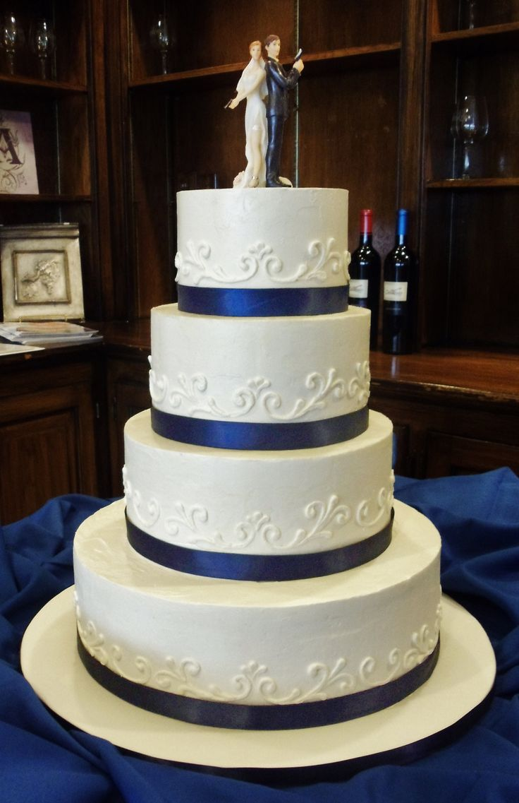 Funny Classic Blue and White Buttercream Cake for two police officers  with  Gun Cake Topper