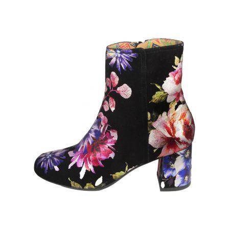 Miss L-Fire Jean Suede Laarsjes Floral Zwart | More on Fashionchick.nl