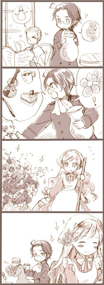 Hetalia (ヘタリア) - Austria, Germany, & Hungary Austria tells Germany he wants flowers along with cakes and other things. Germany says its snowing outside but Austria insists. Hungary sees the flowers and is glad, and Austria is too.