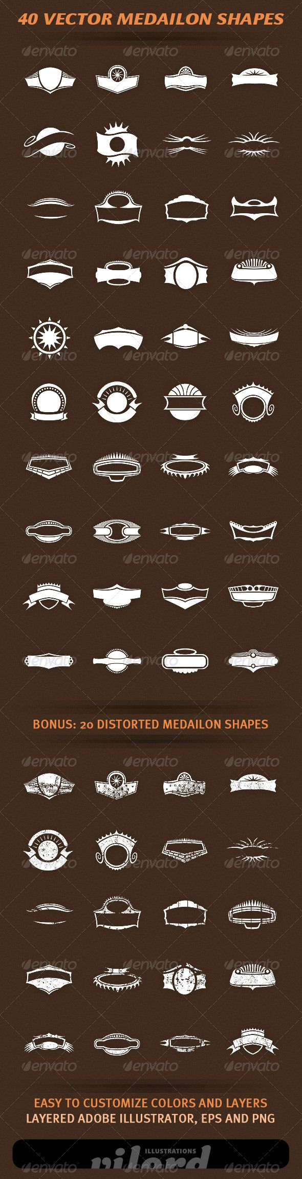 40 Vector Medailon Shapes