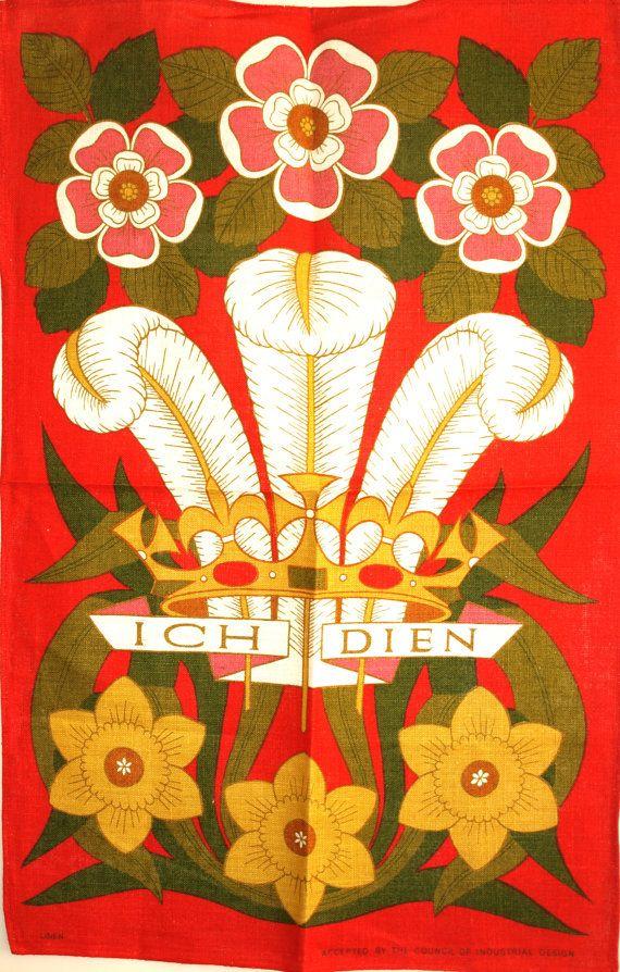 Prince of Wales Ich Dien Feathers Tea Towel  Vintage by FunkyKoala