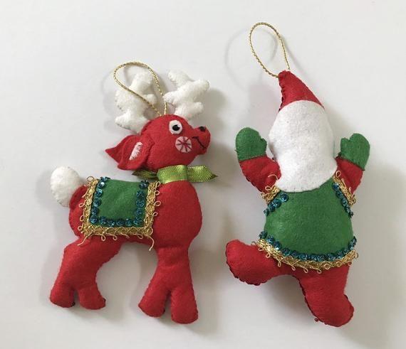 Vintage Handmade Felt Sequin Jeweled Bucilla Ornaments Reindeer And Jumping Santa Handmade Felt Felt Ornaments Handmade Christmas
