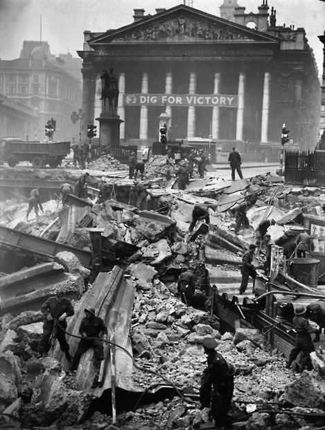 12 January 1941: Soldiers help to clear the debris of Bank Underground Station, the morning after it received a direct hit during the Blitz. Some 111 people were killed in the bombing raid by German aircraft.  Picture: H F Davis/Getty Images