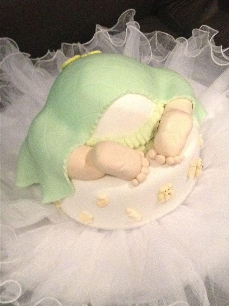 "Neutral baby shower ""bottom"" cake"