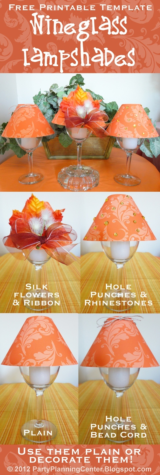 Free Printable Thanksgiving and Fall Wineglass Candle Holder Lampshade Template