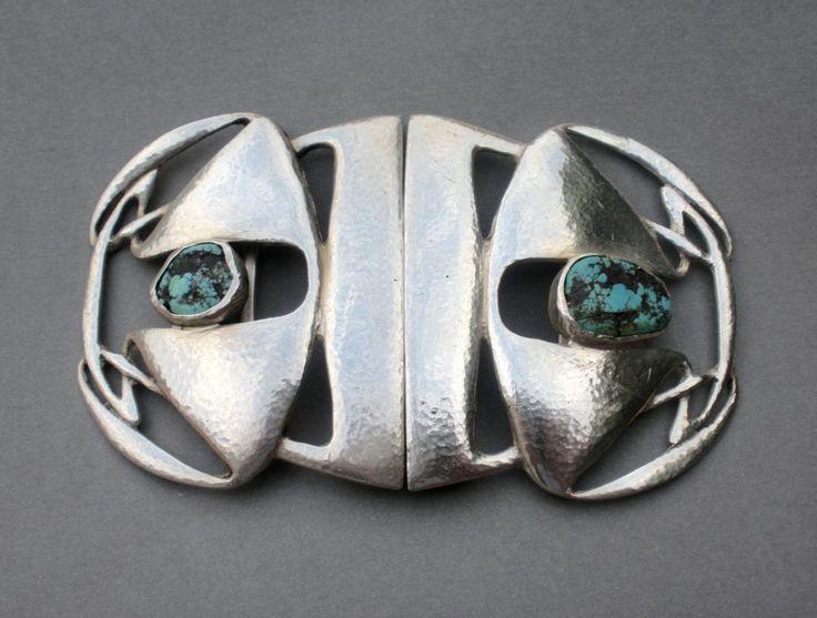 Archibald Knox for Liberty & Co, silver turquoise matrix set Cymric silver two piece Art Nouveau buckle