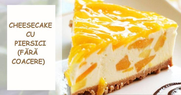 """Vă propunem să încercați acest desert! Se pregătește rapid— cea mai mare parte din timpul de preparare este necesară pentru închegarea cheesecake-ului la frigider. Astfel veți obține un deliciu răcoritor, cu aspectul unui adevărat tort! INGREDIENTE: 200 g de biscuiți """"Petit Beurre""""; 100 g de unt; 400 g de brânză dulce de vaci; 200 ml de smântână pentru frișcă 30%; 130 g de zahăr; 30 g de gelatină; 2 piersici; 150 ml de apă; vanilie— după gust. MOD DE PREPARARE: Dizolvați gelatina în 100 ml…"""