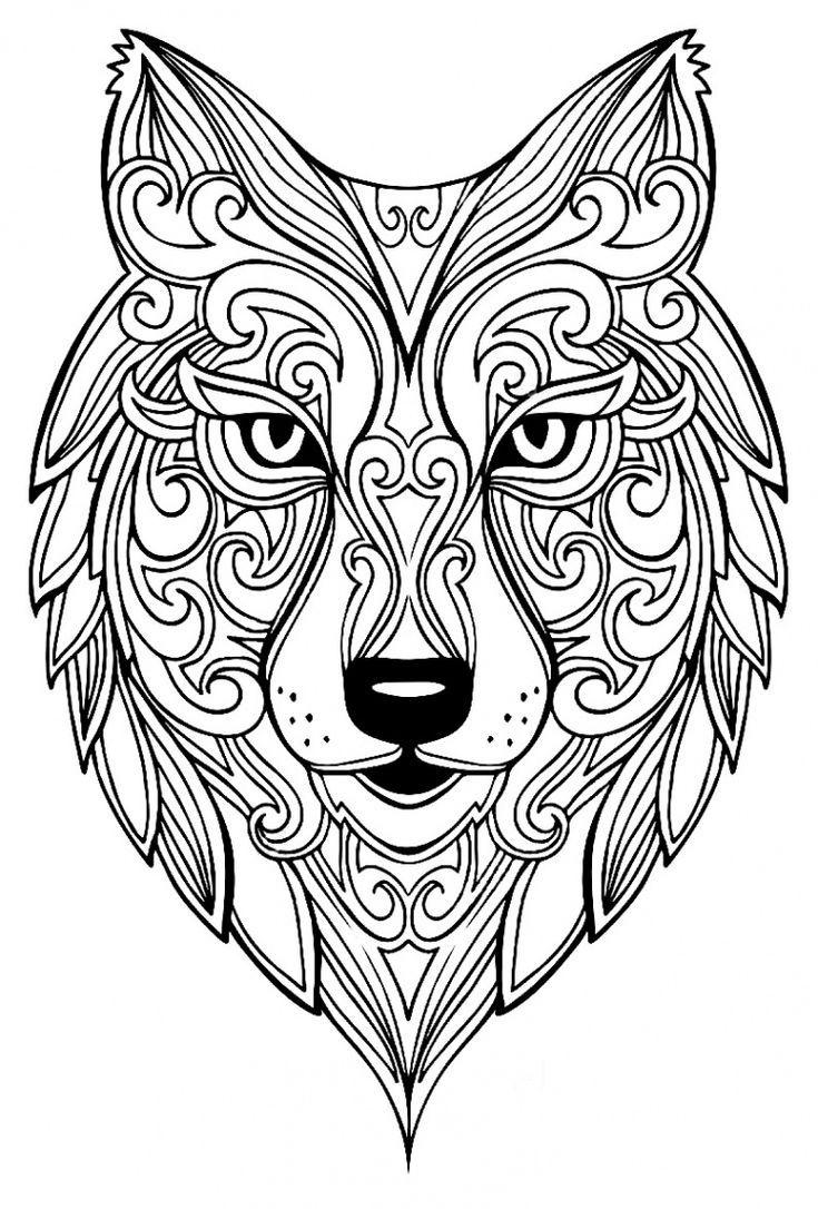 Big Wolf Coloring Animal 100 Zen Mandalas Anti Stress Fur Coloriage Animaux Amp Animal Animaux Malvorlagen Mandala Tiere Mandala Ausmalen