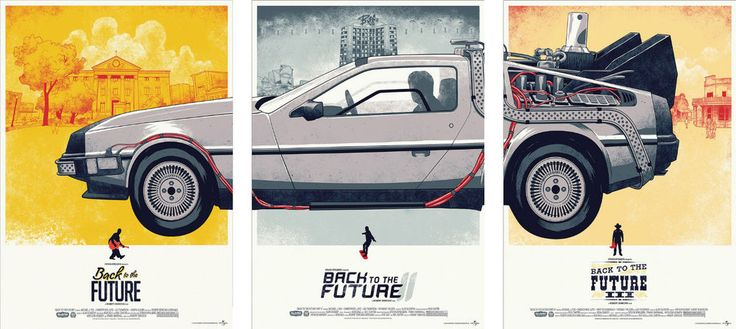 Back to the Future Delorean Trilogy Poster Set - A4 A3 A2 A1 Sets Available in Art | eBay
