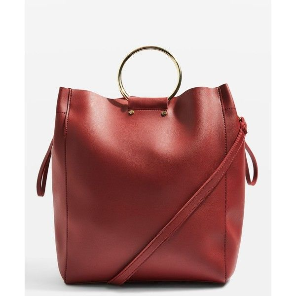 TopShop Seb Ring Holder Shopper Bag ($48) ❤ liked on Polyvore featuring bags, handbags, tote bags, red, long shop bags, red handbags, red tote, red shopping bags and topshop tote bag