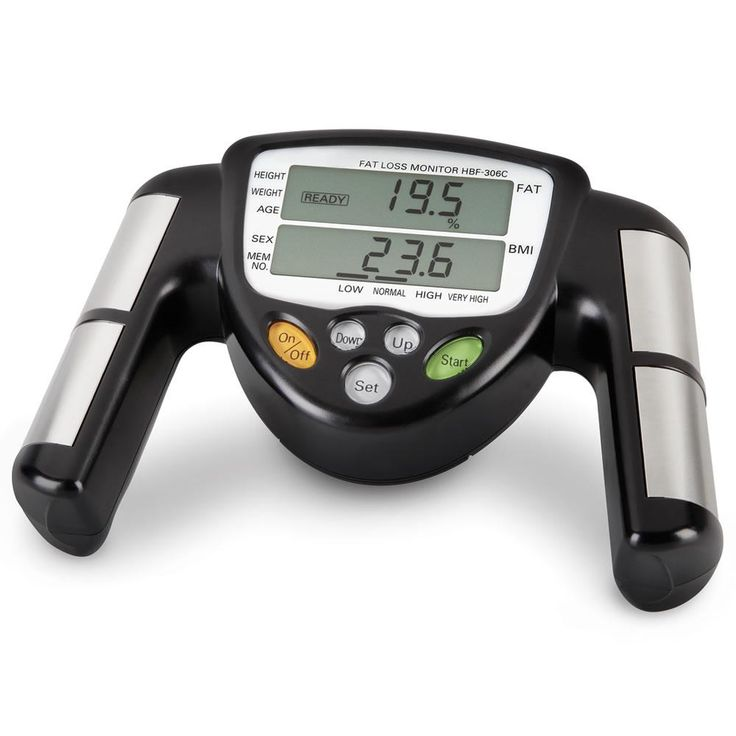 Check out the Omron Body Fat Tracker. The device looks a bit like a fancy steering wheel for a racecar. When you grab both handles, it measures the electrical impedance through your body. Since the current passes from one side of your body to another, the measurements tend to be more accurate than others.