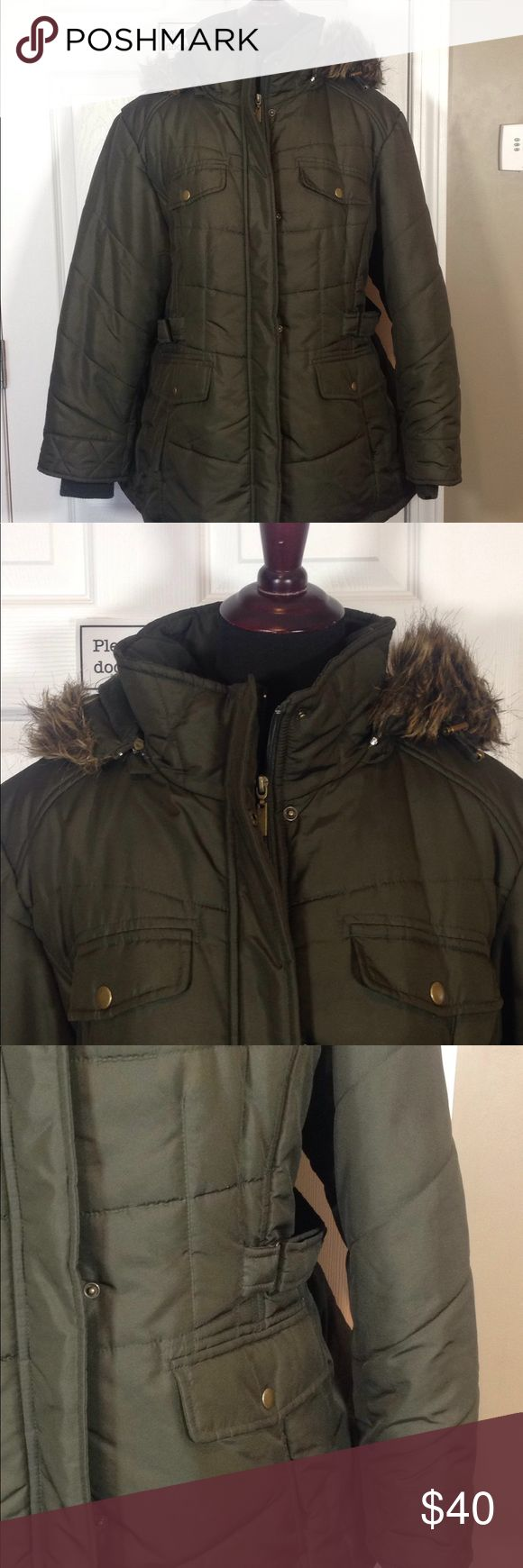 Plus size down coat olive / fur hood 2X Great condition olive green warm down coat. Zip front and snap. Cinches on either side of the waist. Super warm and removable hood weather tamer Jackets & Coats Puffers