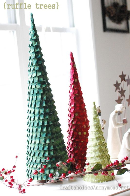 Ruffle Christmas Trees on http://www.craftaholicsanonymous.net: Xmas Trees, Christmas Crafts, Crafts Ideas, Ruffles Trees, Trees Crafts, Crafts Tutorials, Christmas Decor, Christmas Trees, Ruffles Christmas