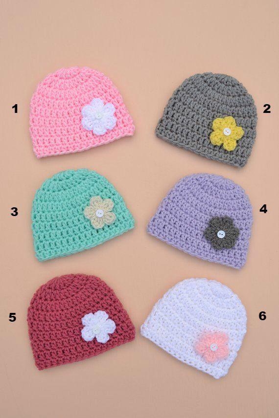 Crochet Newborn Baby Girl Hat Handmade Baby Girl Hat with Flower Baby  Shower Gift Baby Girl Beanie Crochet Baby Hat Baby Photography Prop  6fa549d91be