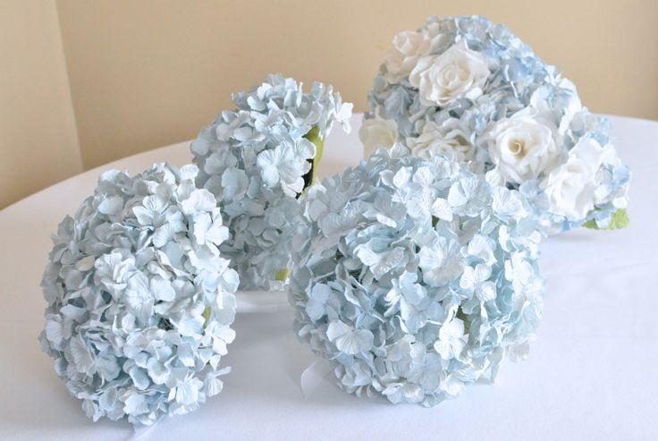light blue paper hydrangea bouquet, 100 floret bouquet of pale blue wedding flowers, bouquet, wedding bouquet, paper flowers. $54.00, via Etsy.