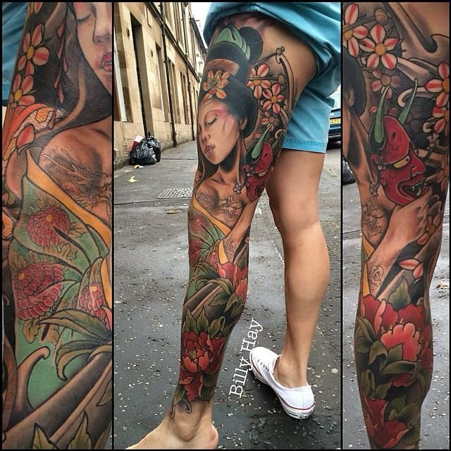Japanese inspired leg sleeve with geisha by Billy Hay.