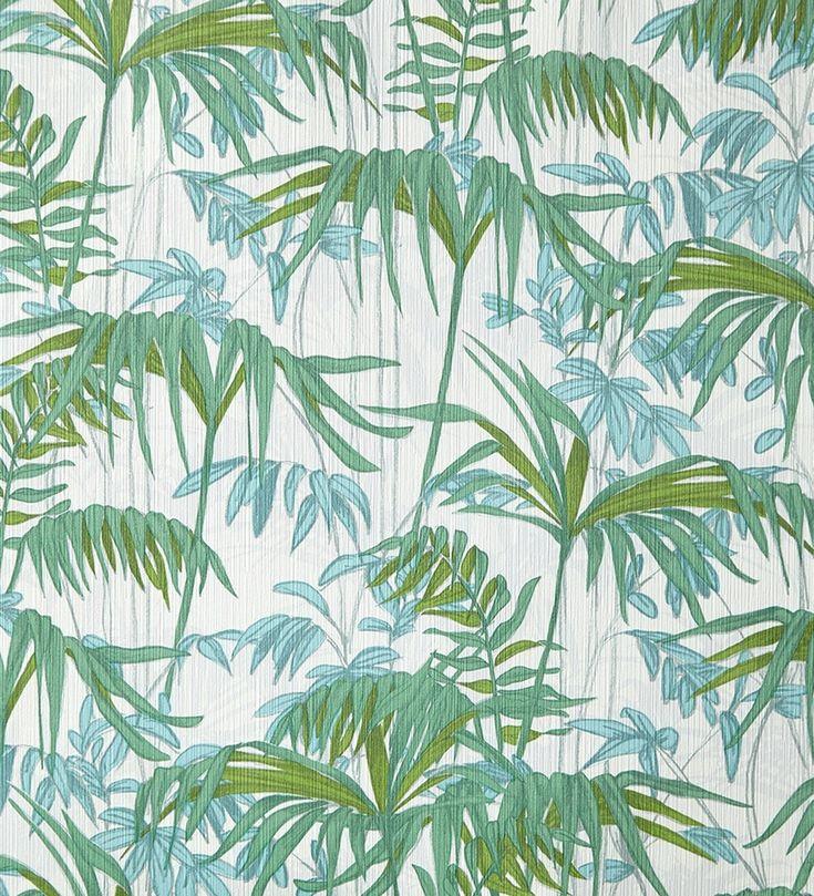 Papel pintado con hojas y plantas verdes y turquesas de la selva - 2020558
