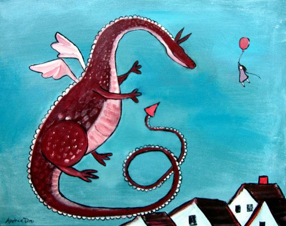 Kids Wall Art Whimsical Dragon Original Painting by andralynn, $100.00