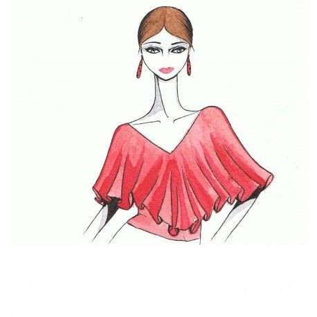 Blusa con volante en escote. #moda #flamenca #patrones #volantes #lunares #sketch #dibujo #boceto #pintura #modelo
