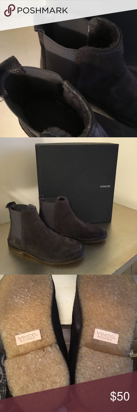 Vince grey desert boot These grey slip on desert boot are so comfortable and warm in cool weather. The inside is lined in fur. I only wore a few times. Need to make room for new. From a smoke free pet free home. Vince Shoes Ankle Boots & Booties