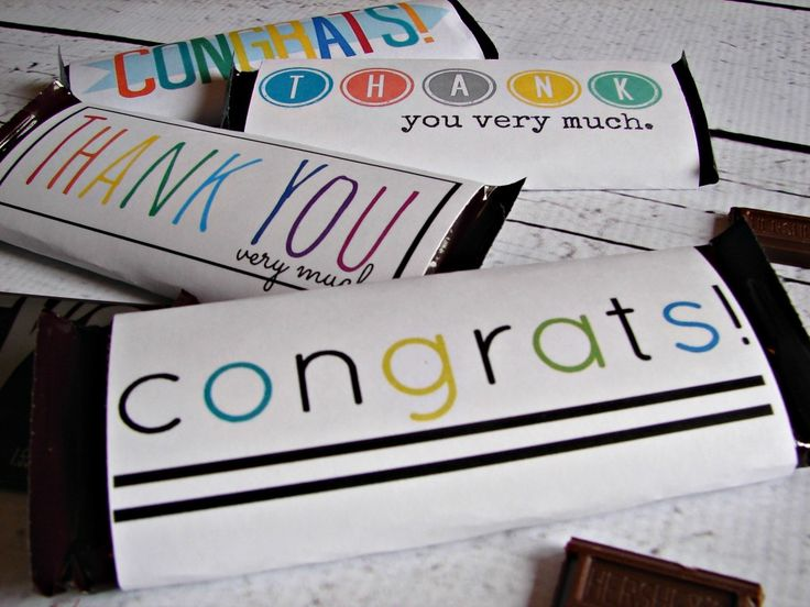 thank you and congrats free candy bar printables from Girl and a Glue Gun- cute cute!