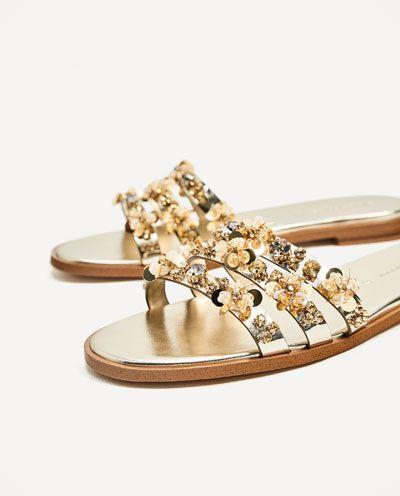 Image 5 of GOLD BEADED SLIDES from Zara