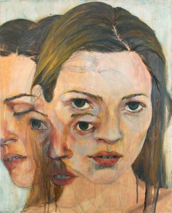 By Christine Wu. Fragments of three people at different angles merged together into one painting.