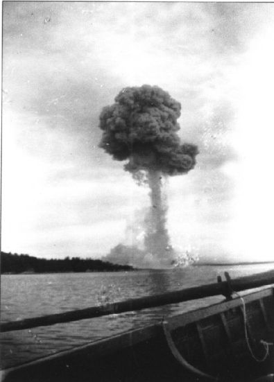 The remains of the SS Mont-Blanc's hull were blown 1000ft into the air.