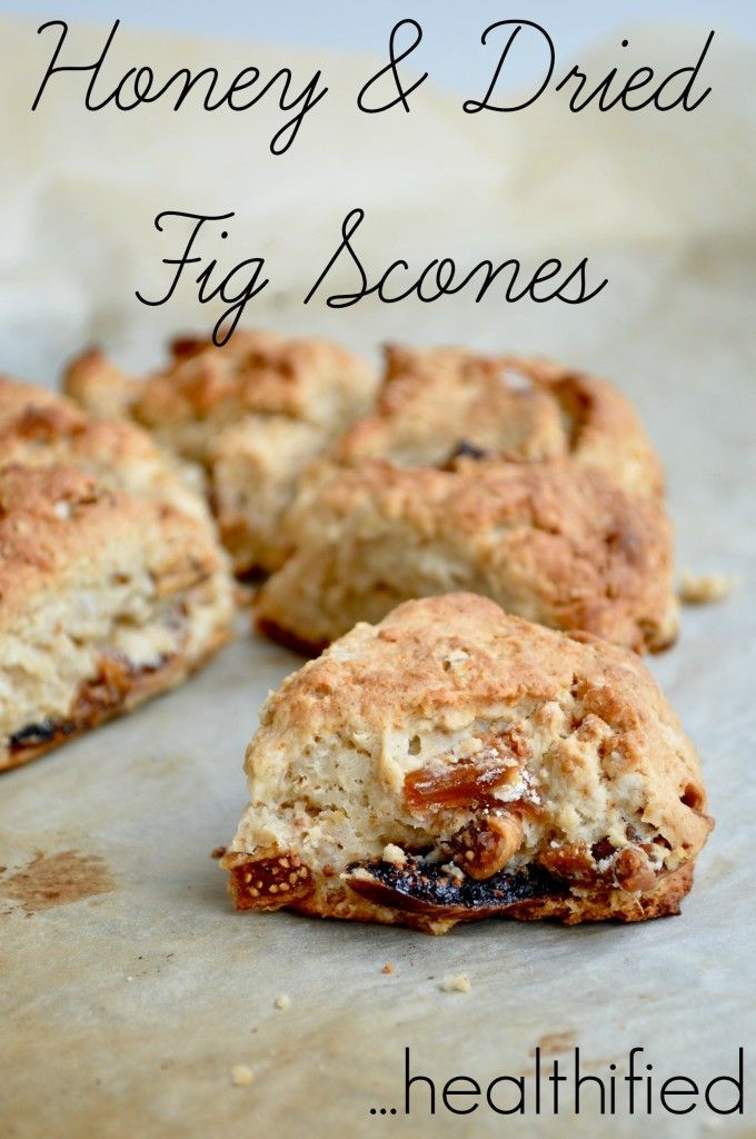 Healthified rustic scones with dried figs and honey. No white sugar.