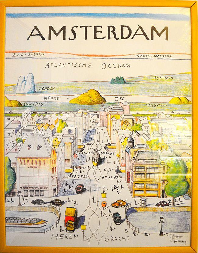 Prachtige amsterdamse prent De winkel van pied a terre is een reis opzich. Met bijzondere reisboeken in een sfeervolle setting.