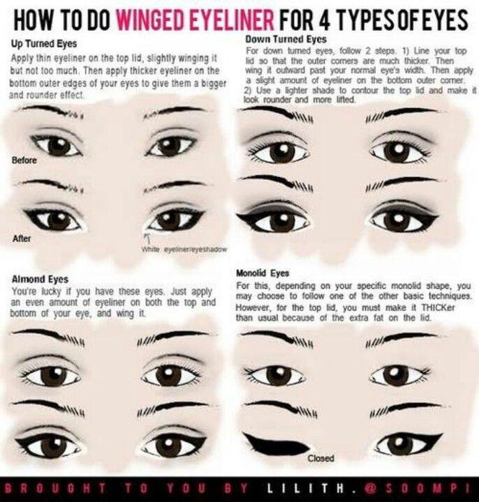 Winged eyeliner | Make up & Nails | Pinterest | Different ...
