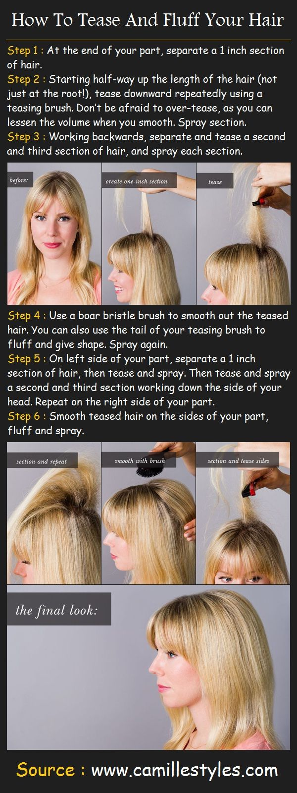 How To Tease And Fluff Your Hair | Pinterest Tutorials - I don't really get the point of teasing hair but this could he helpful sometime?