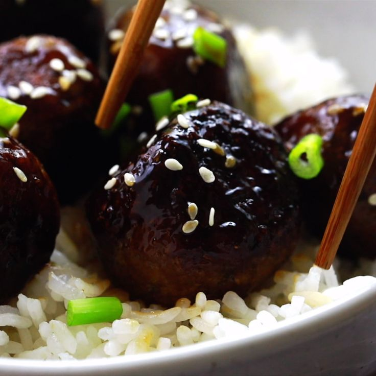 These Vegan Teriyaki Meatballs have the perfect te…